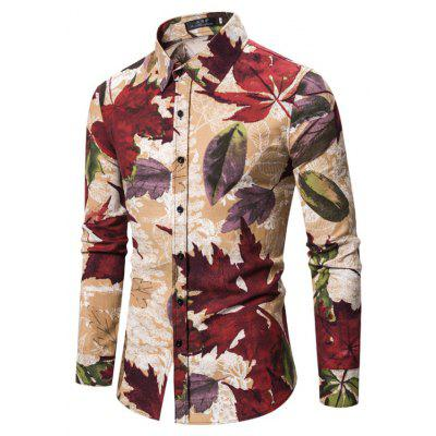 New Long-Sleeved Shirt Cotton and Linen Floral Shirt