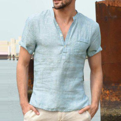 New Men'S Casual Breathable Linen Button V-Neck T-Shirt