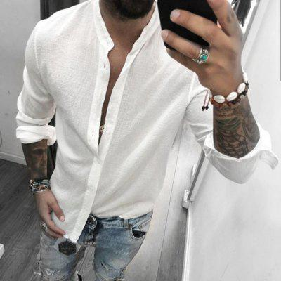 New Men'S Breathable Casual Fashion Cotton and Linen Shirts