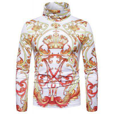 New Men'S Classical Crown Print Turtleneck Long Sleeve T-Shirt