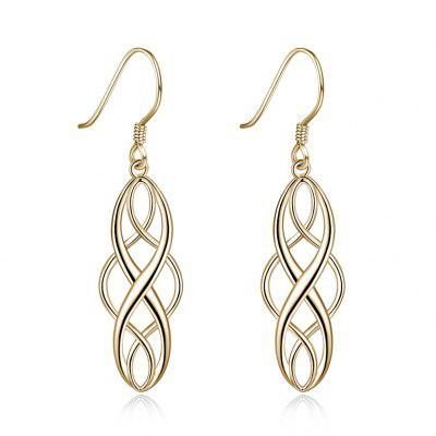 2-COLOR Electroplated Simple Twisted Geometric Shape Ear Hook Sterling Silver