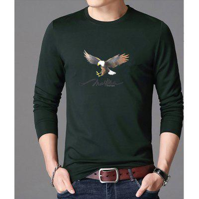 Men'S Foreign Trade Long Sleeve Printed T-Shirt Cotton Top