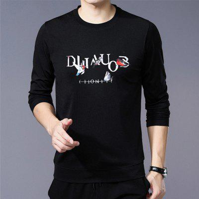 New Men'S Foreign Trade Long Sleeve Printed T-Shirt