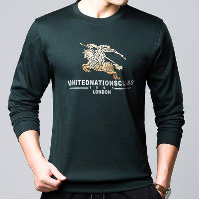 Men'S Foreign Trade Long Sleeve Printed Shirt Cotton Top