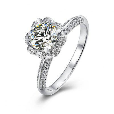 Luxury Round Bag S925 Silver Platinum Plated Mozanstone Female Ring