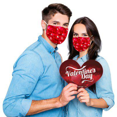 Disposable Face Mask Unisex Adults Valentines Day Printed 3 Layer Masks
