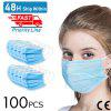 100pcs Anti-Pollution Face Masks Ordinary Nonmedical Disposable 3 Layer Meltblown Filter Earloop