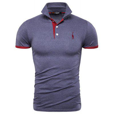 14 Colors Cotton Giraffe Embroidery PoloShirt Men Casual T Shirt Men Deer Turn-down Collar Tees