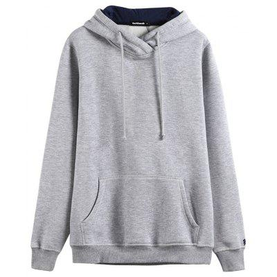 2019 Autumn New Fashion Casual Trend Plus Velvet Solid Color Pocket Hooded Sweater
