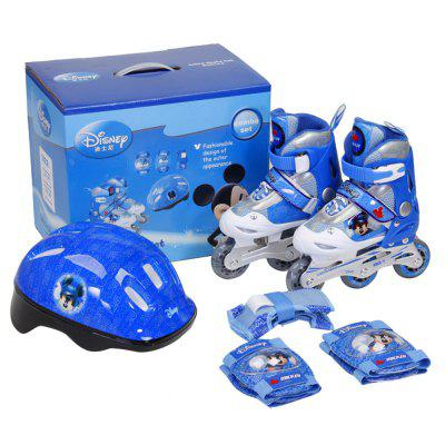 Disney Child Roller Skates Blue 35 to 38 Adjustable Helmet Wrist Elbow Guard for Skating Training