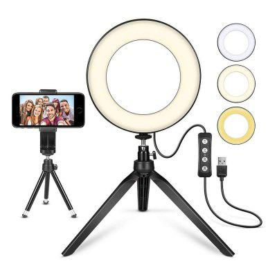 6 inch Video Self-timer Circular Lighting Live Spotlight with Tripod Stand and Cell Phone Holder USB