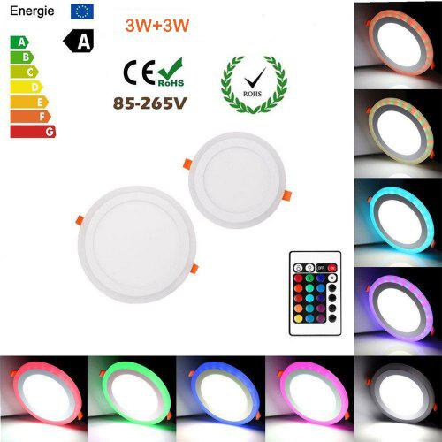 ZDM Round RGB LED Panel Light Acrylic Flush Mount Ceiling Light with Remote Control AC100-260V