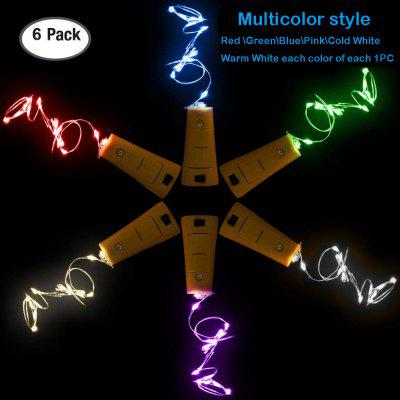 6 Pack Various colors Wine Bottle Lights with Battery Operated LED Silver Copper Wire MINI Fairy