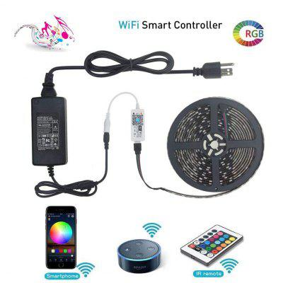 WiFi Intelligent Remote Dimming LED Strip Kit 5M 300x5050 RGB LED Strip Lighting with 12V 6A Adapter