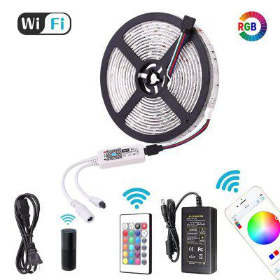 WiFi Intelligent Remote Dimming Waterproof 5M 300x5050 RGB LED Strip Lighting Kit with 3A Adapter