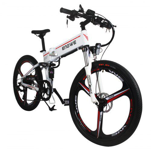 ENGWE Folding Full Suspension Electric Bike with Integrated Wheel and Dual Disc