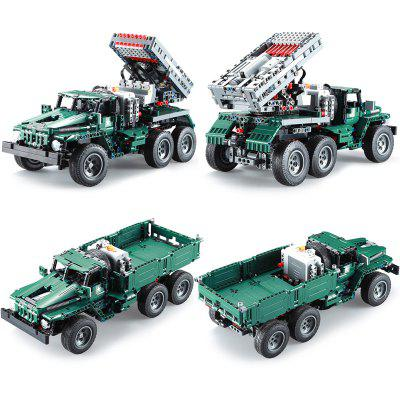 CaDA C61002 1369PCS 2 in 1 Building Blocks RC Rocket Launcher Truck Car Toys for Kids