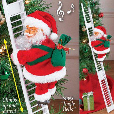 Lovely Music Santa Claus Electric Climb Ladder Hanging Decoration New Year Kids Gifts