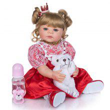 KEIUMI 22 Inch 55 cm Reborn Dolls Full SIlicone Body Fashion Adorable Princess Baby Girl Doll Toys DIY hår Barn Bursdagsgaver