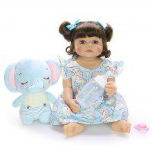 KEIUM 22 Inch 55cm Fashion Realistic Reborn Dolls Full Body Silicone DIY Doll with Elephant for Childrens Day Gifts Kids