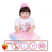 KEIUMI 23 tum 57 cm Mode Reborn Baby Dolls Full Silikon Kroppsimuleringsdockor Girl DIY Toy to Kids Birthday Presents
