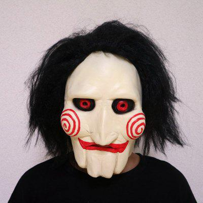Halloween Horror Masks Cosplay Mask Saw Chainsaw Massacre Jigsaw Puppet with Wig Hair Latex Creepy Gift Party Haunted Scary Toys