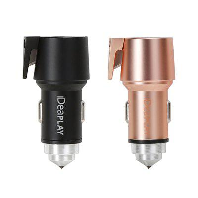 IDEAPLAY Vehicle 3-in-1 Emergency Tool 2.4A Quick Charge Car Charger with Matching Cable 2-packs