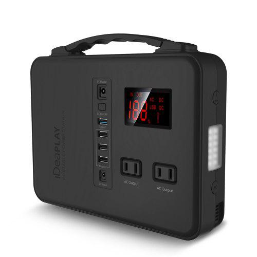 IDEAPLAY Portable Power Station Generator 200W Emergency Backup Power Bank with 110V AC 12V DC 4 USB
