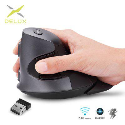 Delux M618 Ergonomic Vertical Wireless Mouse 6 Buttons Optical Mouse With  Silicon Rubber Case