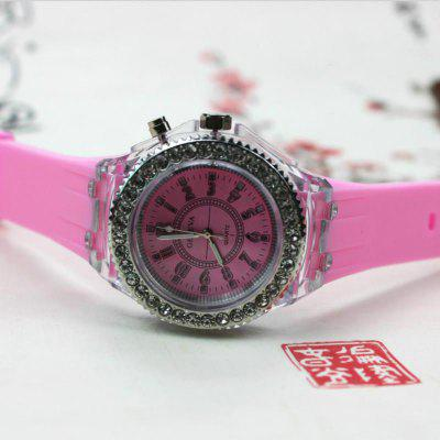 Hot selling Geneva Glowing Watch Fashion Colorful LED Flash Watch Silicone Diamond Couple Watch