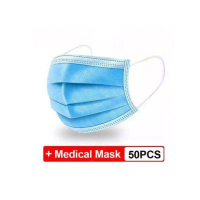 50 pcs Mask medical Disposable Anti-dust Safe Breathable Face Dental Medical Ear Mouth Mask 3 Ply