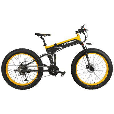 LANKELEISI XT750PLUS 48V 12.8AH 500W all-round motor electric bicycle 26 inch 4.0 fat tire MTB folding