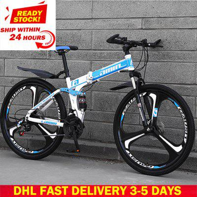 DHL Fast Delivery Folding Bicycle 27 30 Variable Speed Mountain Bike Tire Road Bike Frame size 26 inch Product Unisex Resistance Image