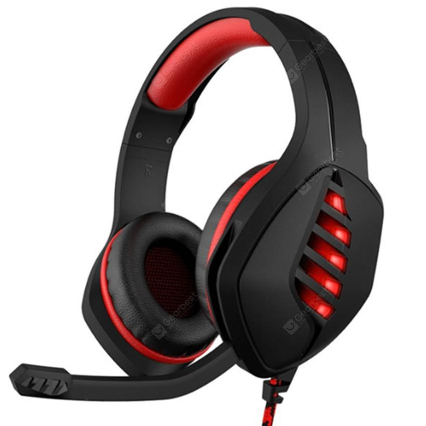 J1-A Stereo Headphones aming Headset with Microphone LED for Computer Smartphone Tablet Laptop