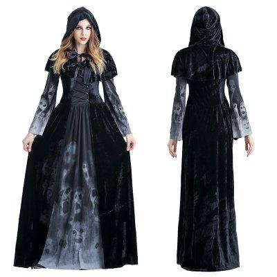 Halloween Women Medieval Gothic Witch Maleficent Horror Scary Cosplay Costume Carnival Party Ghost Long Black Hooded Dress