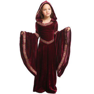 Halloween Costume Dresses Decompression For Kids Girls Vampire Girl Cosplay Red Black Medieval Dress Child Party