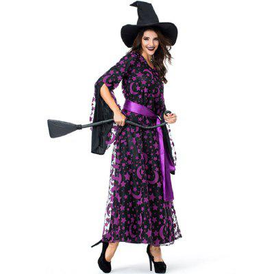 Halloween Witches Costumes Cosplay Umorden Purple Star Moon  Sorceress Costume Long Dress Drag Party Witch Game Uniform Funny for Women Kids Girls