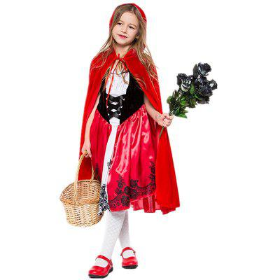 Halloween Funny Hood Cosplay Costume Fairy Tale Queen Dress With Removable Cloak Party Helloween Character Fancy Masquerade For Women Girls
