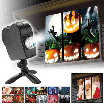 Christmas Halloween Laser Projector Indoor&Outdoor Waterproof 12 Movies Disco Light Mini Window Home Theater Wonderland Lamp