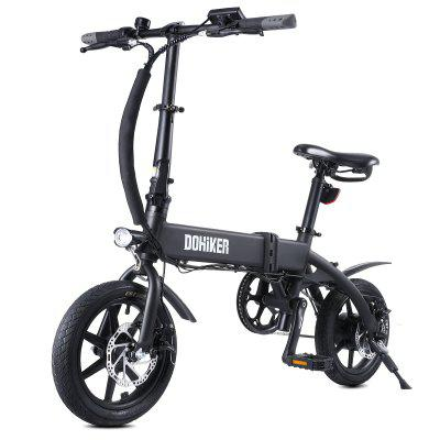 DOHIKER Folding Electric Bicycle 250W Collapsible Commuter Bike with 14 Wheels 36V 10Ah Rechargeable Lithium-ion Battery LED Headlight