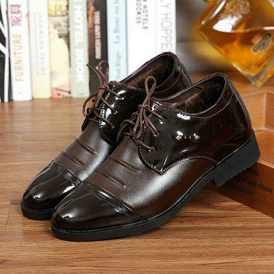 Autumn And Winter Men Cotton Shoes Plus Velvet Warm Business Dress Shoes Pointed Toe Lace Casual Cotton Shoes