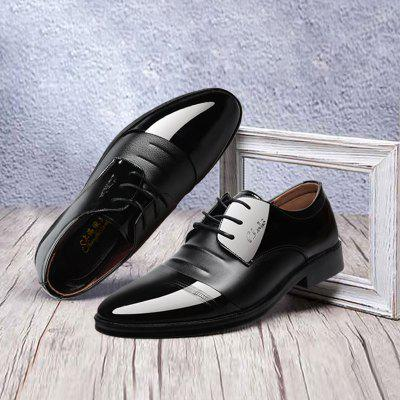 Men Shoes Casual Leather Shoes Men Business Formal Wear British Leather Shoes Lace-up Pointed Tide Shoes