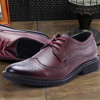 Fashion Men British Style Comfortable Casual Shoes Solid Color Lace-up Footwear