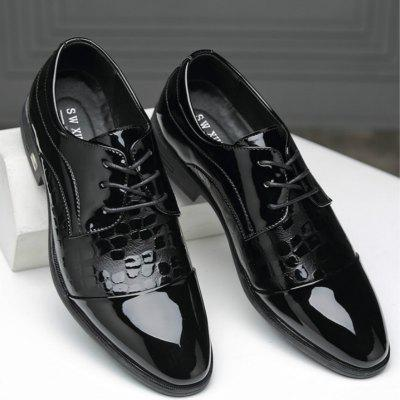 Men Leather Shoes Business British Lace Up Black Casual Breathable Shoes