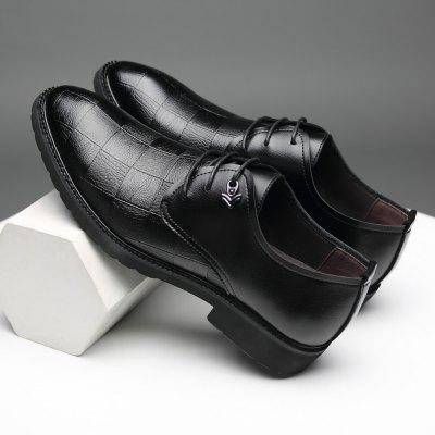 Men Leather Shoes Business British Lace Up Black Casual Leather Breathable Shoes