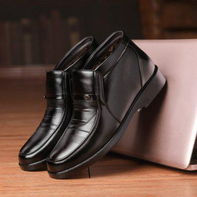 Men Winter Snow Leather Boots Warm Plus Velvet Thick High-top Casual Cotton Shoes