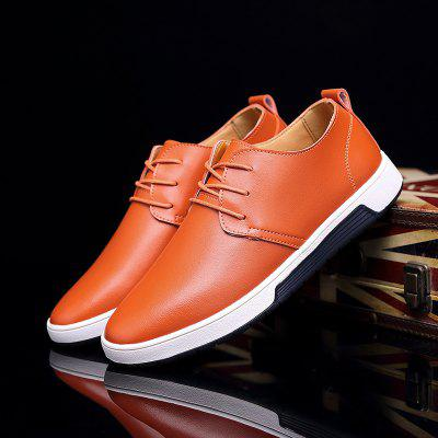 Men Breathable Flat Casual Leather Shoes Large Size