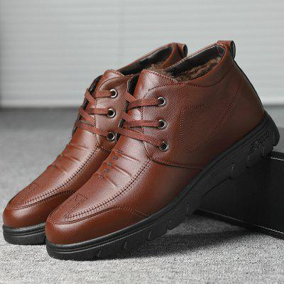 Men Simple British Style Short Boots Lace Up Shoes Winter Snow Boots