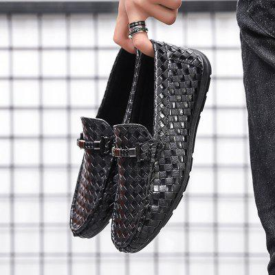 Men Peas Shoes Fashion Flat Woven Driving Shoes Upholstered Comfortable Casual Shoes