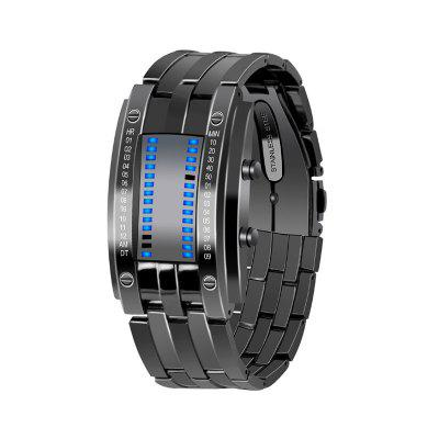 New Fashion Trendy Black Gold Steel Alloy Business Band Watch Without Pointer Male and Female Waterproof Led Electronic
